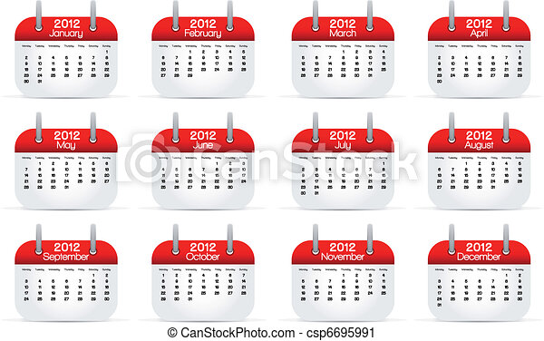 annual calendar 2012 english vector illustration