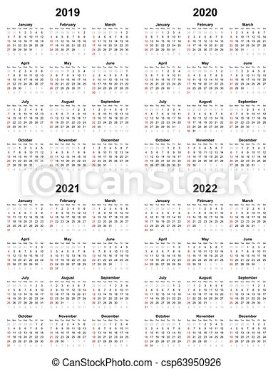 2020 Annual Calendar.Annual Plain Calendar Sunday First Day 2022 2021 2020 2019