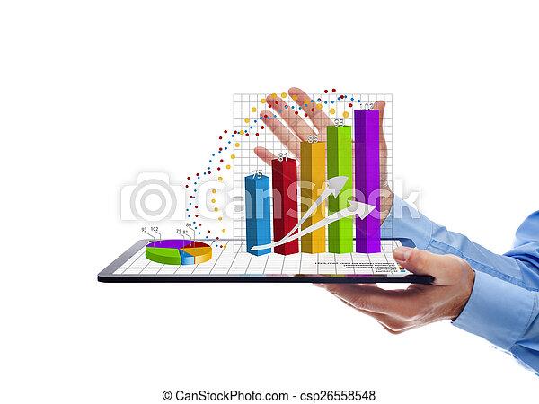 annuale, -, tabelle, isolato, presentare, relazione, uomo affari - csp26558548