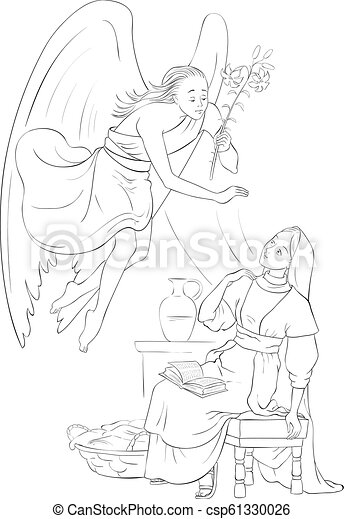 Annunciation Coloring Page Angel Gabriel Announcement To Mary Of The Incarnation Of Jesus Vector Cartoon Children Coloring Canstock