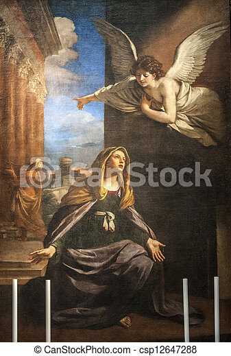 Annunciation - Painting in the San Nicola church of Tolentino - csp12647288
