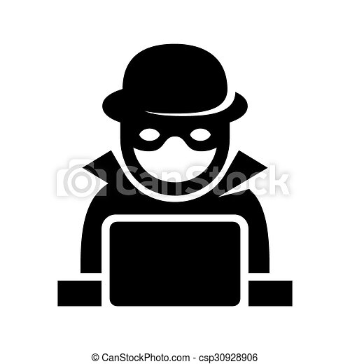 Anonymous Hacker Spy Icon Searching on Laptop. Vector - csp30928906