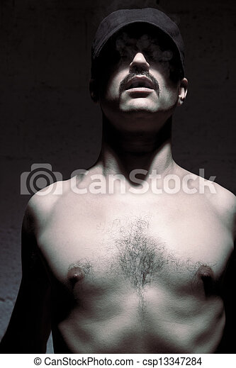 Anonymous Topless Mustache Man - csp13347284