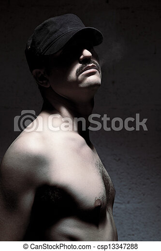 Anonymous Topless Mustache Man - csp13347288