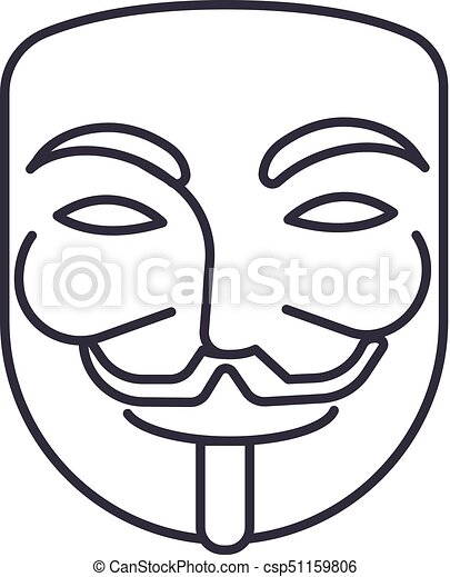 anonymous,mask carnival,hacker vector line icon, sign, illustration on background, editable strokes - csp51159806