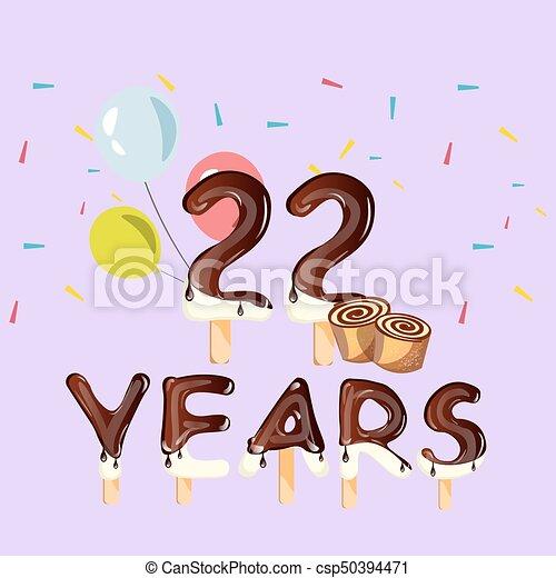 anos, 22, cartão aniversário, celebração - csp50394471