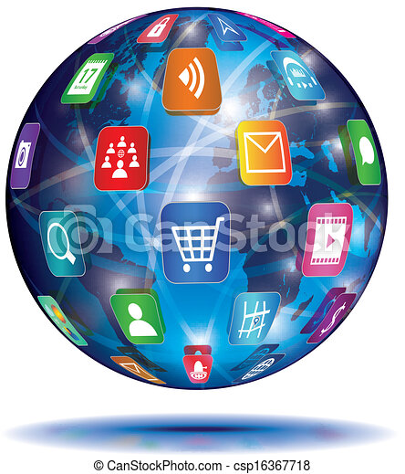 ansøgning, concept., globe., icons., internet - csp16367718