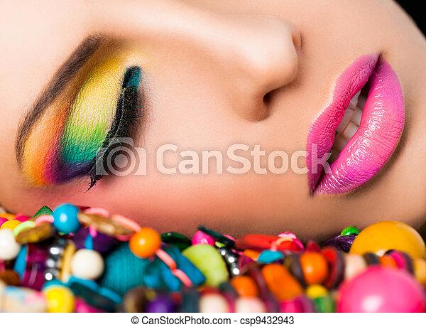 ansikte, läpp, kvinna, färgglatt, smink - csp9432943
