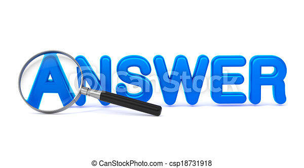 Answer Concept with Magnifying Glass. - csp18731918