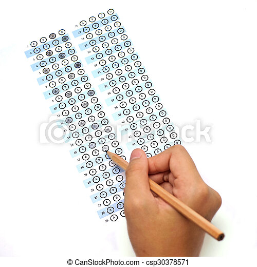 answer sheet test score with pencil  - csp30378571