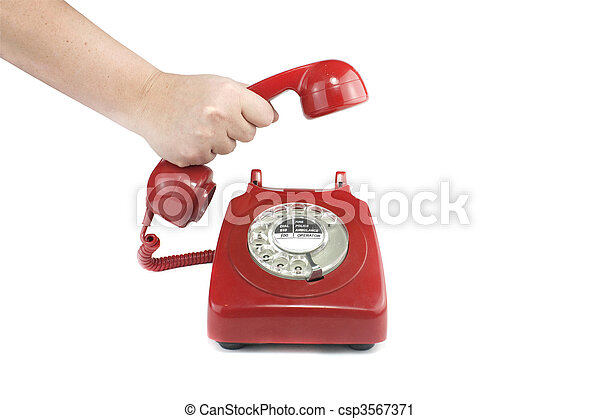 Answering an old fashioned red telephone - csp3567371