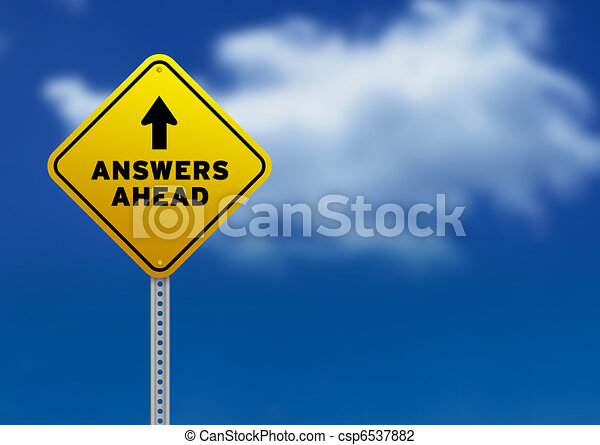 Answers Ahead Road Sign - csp6537882