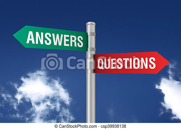answers questions road sign - csp39938138