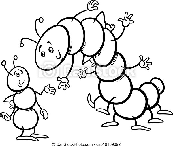 Black And White Cartoon Illustration Of Ant Caterpillar Or Millipede Insects Characters For Coloring Book