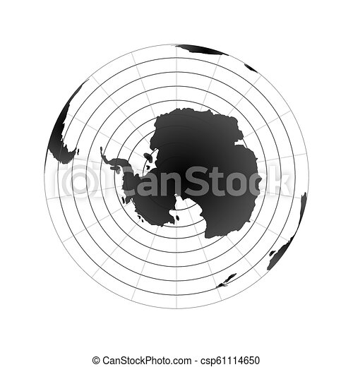 Antarctic pole globe hemisphere. World map view from space isolated on white - csp61114650