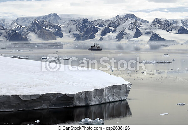 Antarctica and research vessel - csp2638126