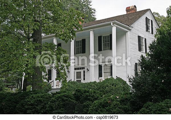 Antebellum Home in Trees - csp0819673
