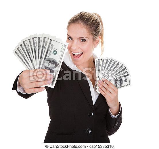 anteckna, affärskvinna, dollar, holdingen, oss - csp15335316