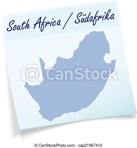 anteckna, karta, afrika, syd, klibbig - csp21967410