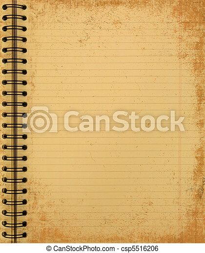 anteckningsbok, grunge, gul - csp5516206