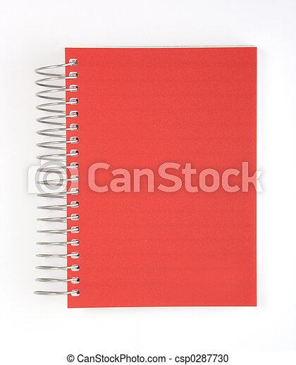 anteckningsbok, isolerat, röd - csp0287730