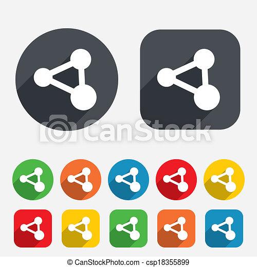 Anteil, symbol., zeichen, verbindung, icon., technologie. Kreise ...