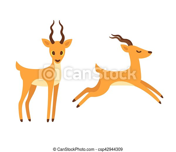 Antelope cartoon illustration. - csp42944309