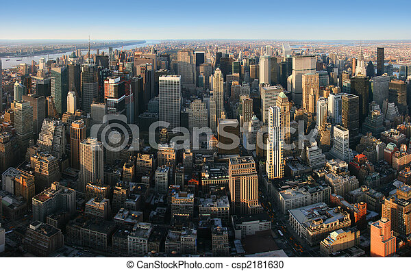 antena, na, panoramiczny, york, nowy, manhattan, prospekt - csp2181630