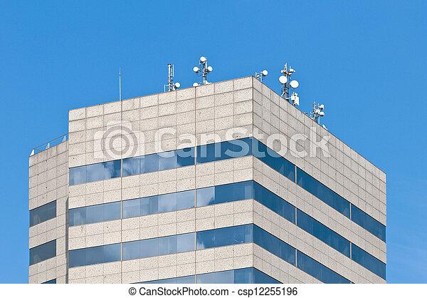 antenas, modernos, telhado, telecomunicação, edifício. - csp12255196