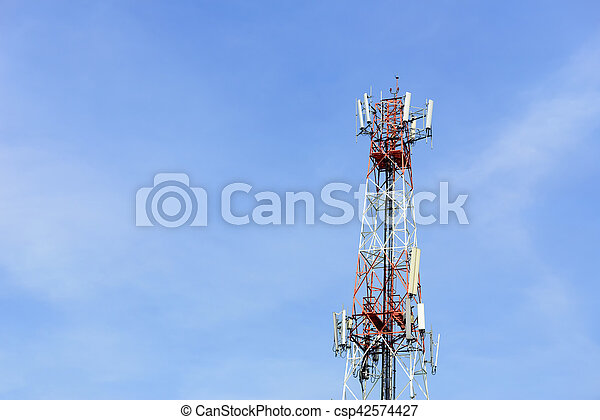 antenna tower building with the blue sky - csp42574427