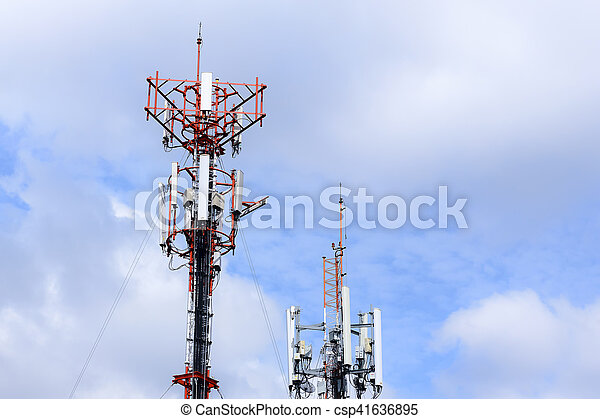 antenna tower building with the blue sky - csp41636895