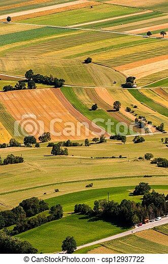 antenne, felter, grønne, udsigter, høst, foran - csp12937722