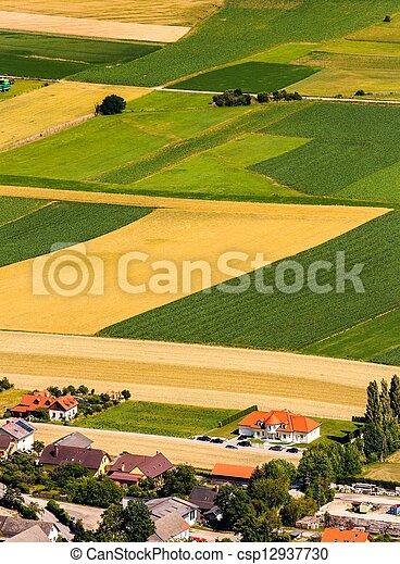 antenne, felter, grønne, udsigter, høst, foran - csp12937730