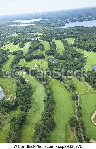 antenne, område, viser, huller, søer, kurs, golf, adskillige, udsigter - csp29630776