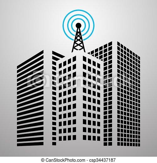 antennes, ville, bâtiments, ensemble, icône - csp34437187