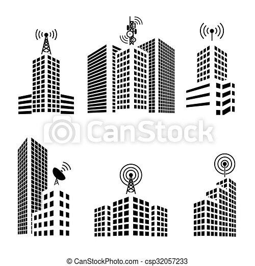 antennes, ville, bâtiments, ensemble, icône - csp32057233