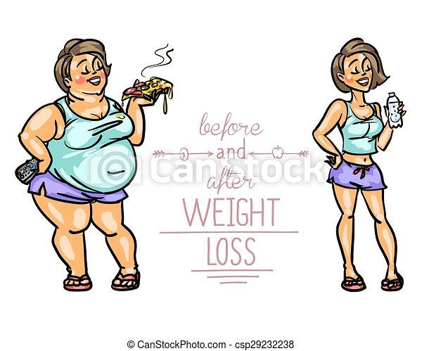 Mujer antes y después de la pérdida de peso. - csp29232238