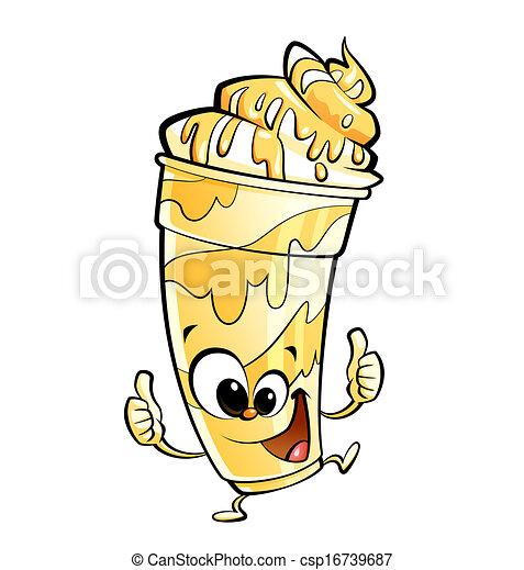 Anthropomorphique pouce vanille caract re haut dessin anim milk shake confection - Vanille dessin ...