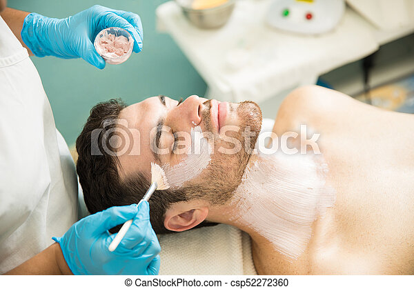 Anti Aging Mask In A Spa Handsome Young Man Getting A Facial