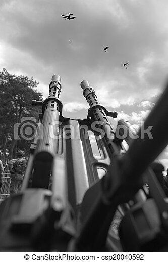 Anti aircraft  machine gun with parachute landing - csp20040592