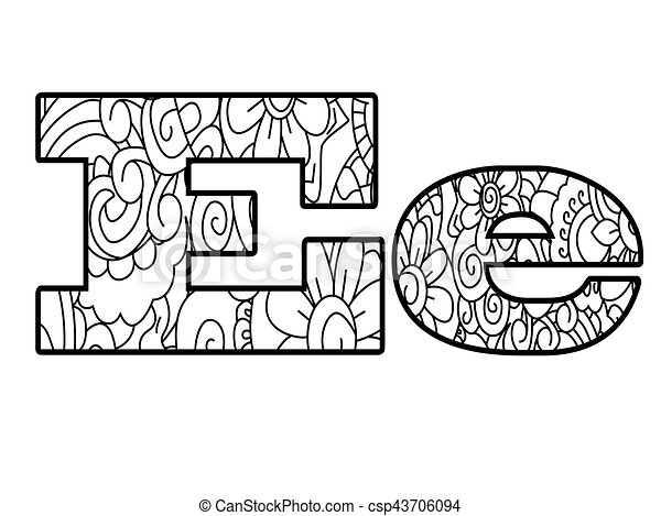 Anti coloring book alphabet, the letter e vector illustration ...