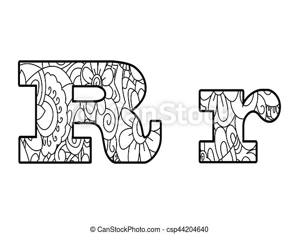 Anti Coloring Book Alphabet The Letter R Vector Illustration