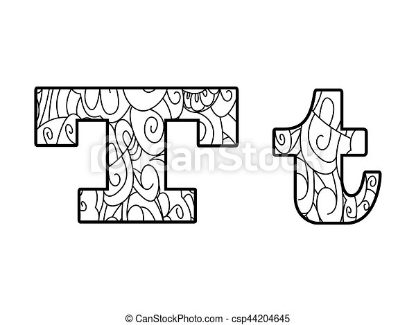 Anti coloring book alphabet, the letter t vector... eps vector ...