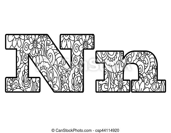 Anti coloring book alphabet, the letter n vector... vector ...