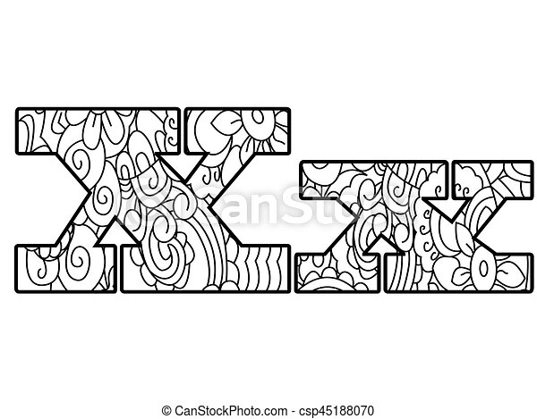 Anti coloring book alphabet, the letter x vector illustration ...