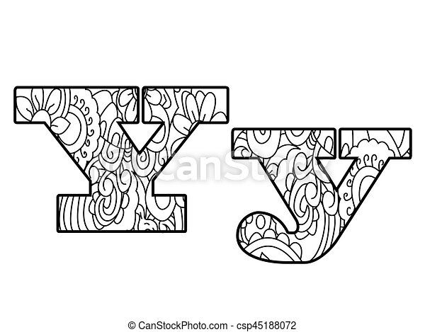 Anti coloring book alphabet, the letter y vector illustration ...