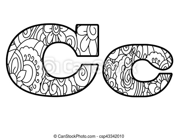 Anti Coloring Book Alphabet The Letter C Vector Illustration
