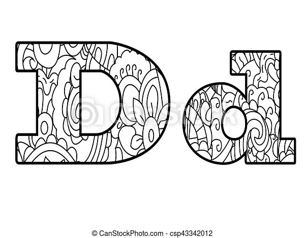Anti coloring book alphabet, the letter d vector illustration ...