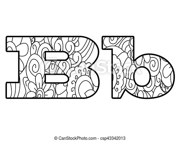 Anti Coloring Book Alphabet The Letter B Vector Illustration