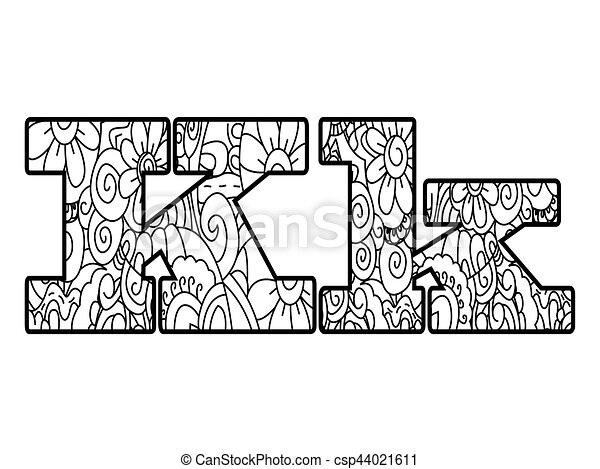 Anti coloring book alphabet, the letter K vector illustration